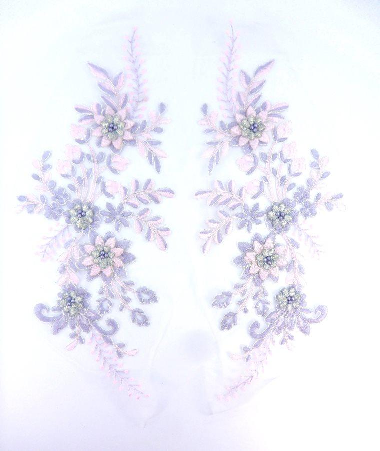 Lace Appliques Lavender Pink Silver Floral Venice Lace Mirror Pair Clothing Patch 13 BL149X
