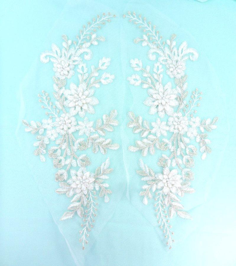 Lace Appliques White Silver Floral Venice Lace Mirror Pair Clothing Patch 13 BL149X
