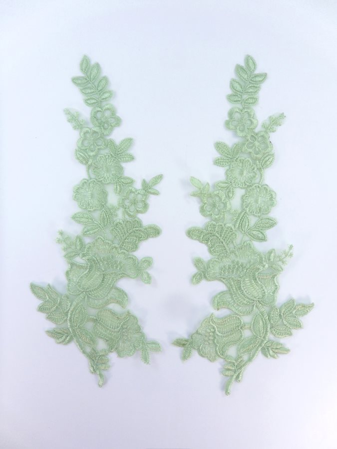 Embroidered Lace Appliques Sage Green Floral Venice Lace Patch Mirror Pair 10 (BL150)
