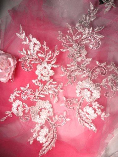 RMBL29 REDUCED White Floral Venise Lace Mirror Pair Sequin Appliques 13