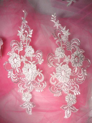 BL30 White Floral Venise Lace Mirror Pair Sequin Appliques 12