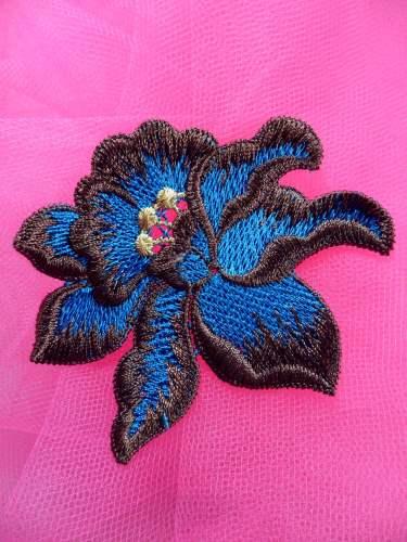 BL44 Turquoise Brown Floral Venise Lace Applique 3