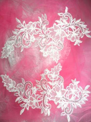 BL45 White Floral Venise Lace Mirror Pair Sequin Appliques 12