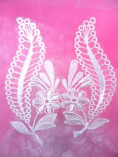 BL46 Ivory Floral Venise Lace Mirror Pair Appliques 4.75