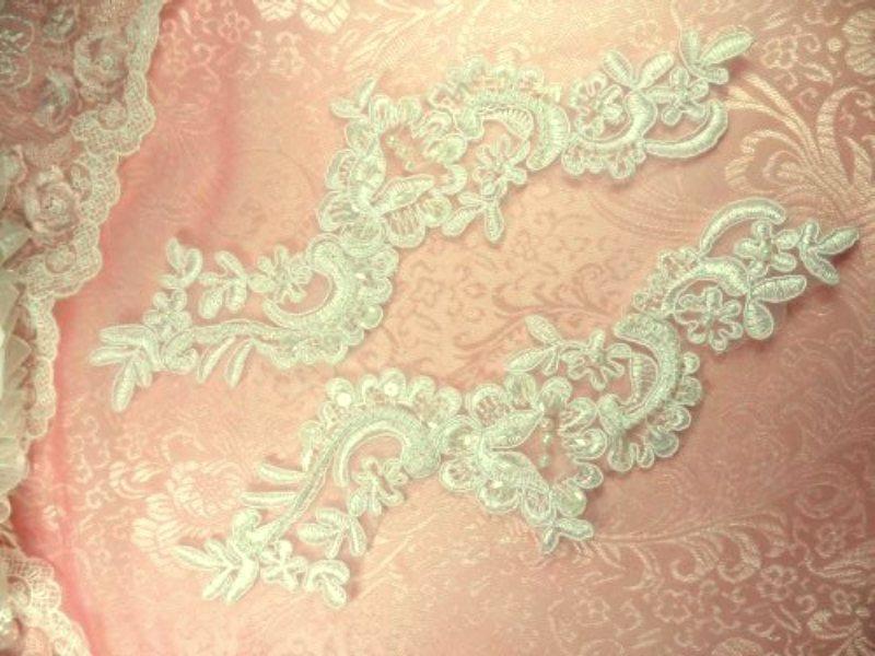 Antique White Floral Venise Lace Mirror Pair Pearl Sequin Appliques 9 (BL4X)