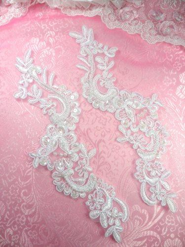 BL4 White Floral Venise Lace Mirror Pair Pearl Sequin Appliques 9\