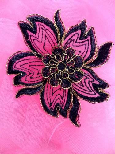 BL66 Black Gold Metallic Floral Venise Lace Applique 3.75