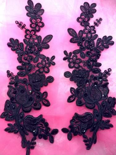 BL6 Black Floral Venise Lace Mirror Pair Pearl Sequin Appliques 10\