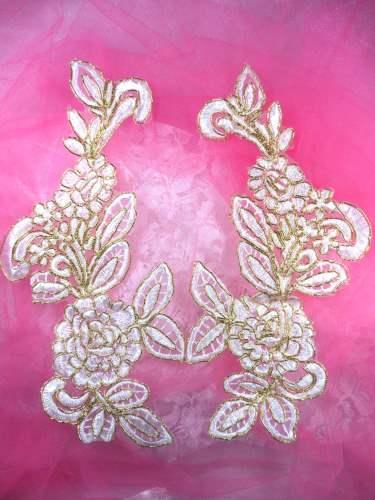 BL71 White Gold Metallic Floral Venise Lace Mirror Pair Appliques 9.5\