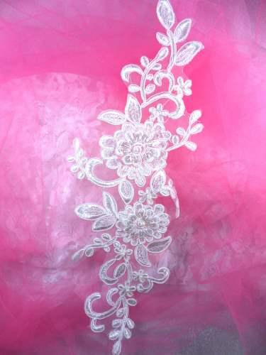 BL72 Antique White Floral Venise Lace Pearl Sequin  Applique 13.25