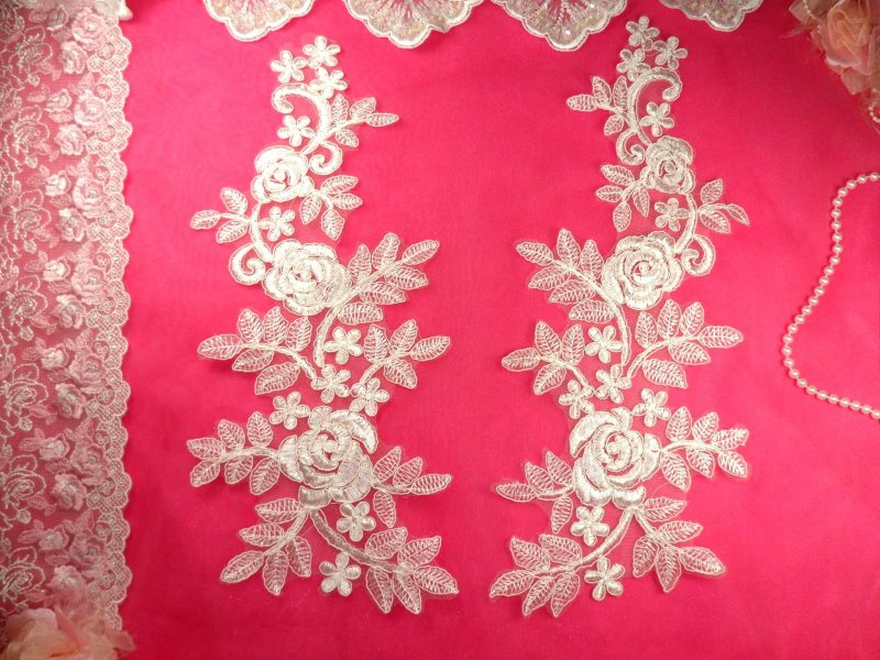 White Bridal Appliques Floral Venise Lace Embroidered Flowers Sewing BL83X 14