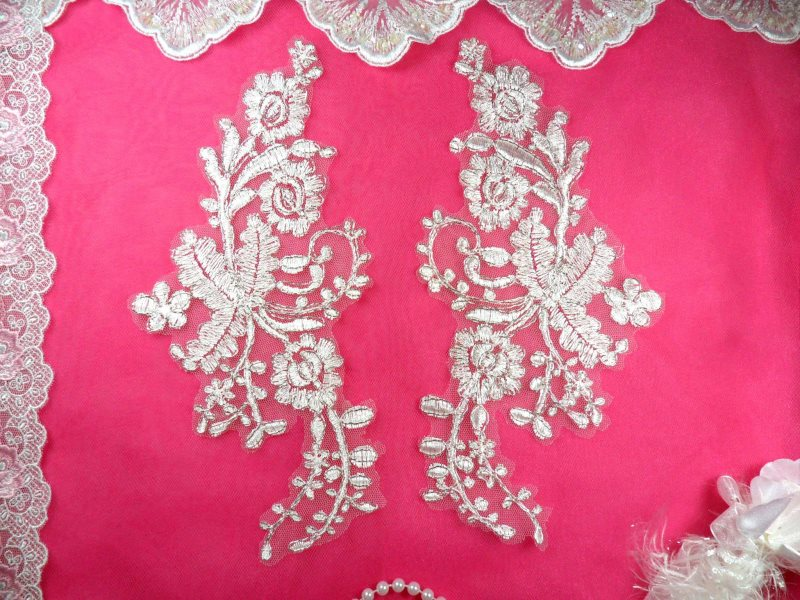 Mirror Pair Appliques White Silver Metallic Floral Venise Lace Embroidered 10 (BL84)