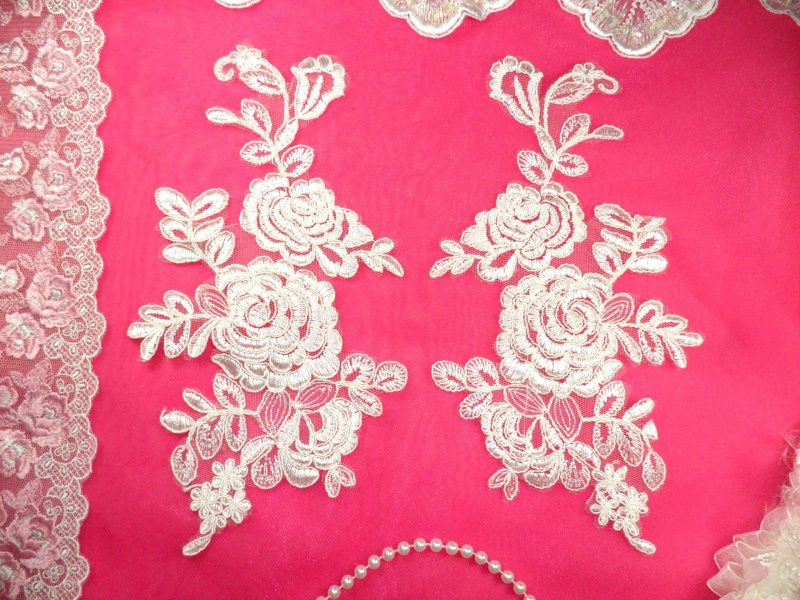 Mirror Pair White Floral Venise Lace Embroidered Appliques 9.5 (BL85)