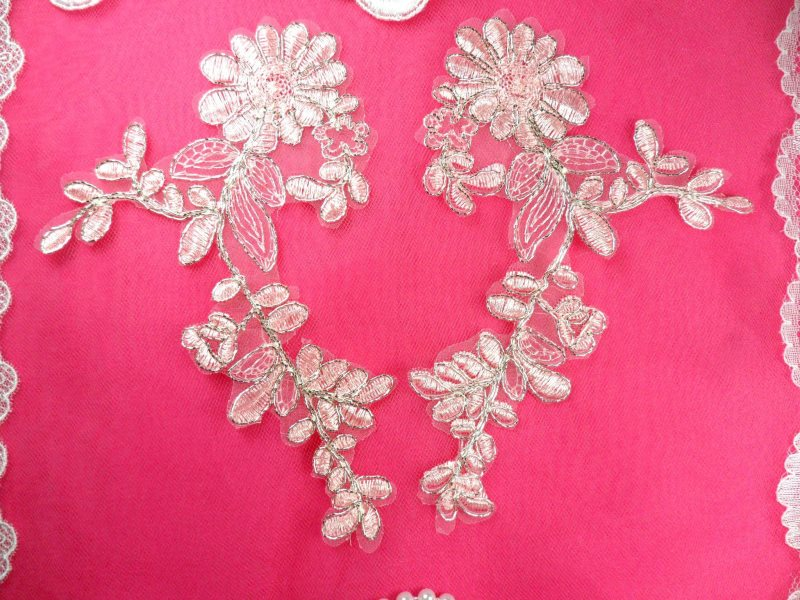 Mirror Pair Appliques Light Pink Silver Metallic Floral Venise Lace Embroidered 7 (BL87)