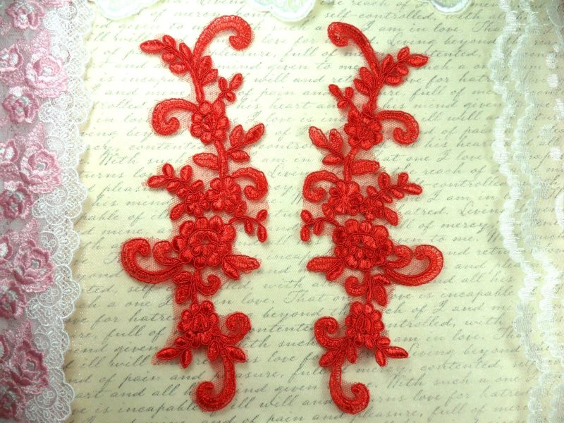 Mirror Pair Red Floral Venise Lace Embroidered Appliques 9 (BL89)