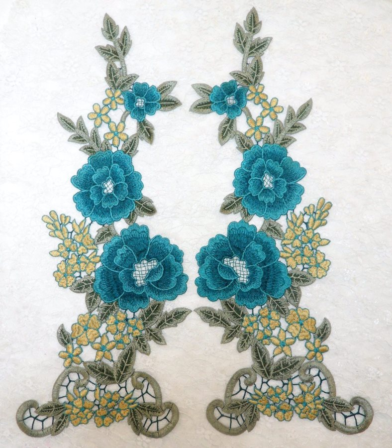 Floral Applique Embroidered Venise Lace Mirror Pair Teal 15.5 (BL91X)