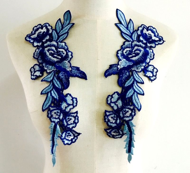 Embroidered Floral Applique Mirror Pair Blue Clothing Patch Craft Motif 11.5 (BL96X)