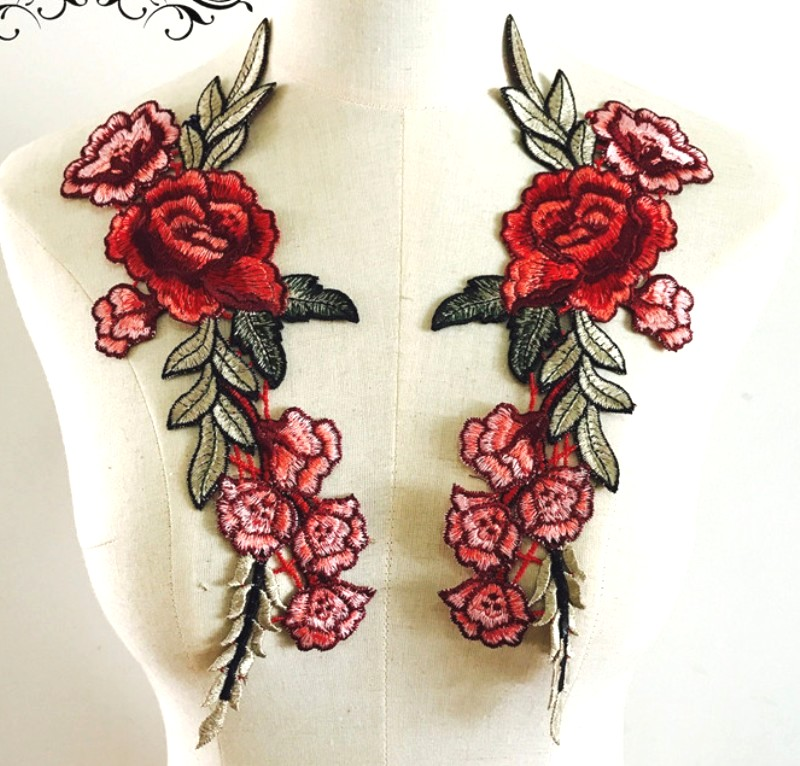 Embroidered Floral Applique Mirror Pair Red Clothing Patch Craft Motif 11.5 (BL96X)