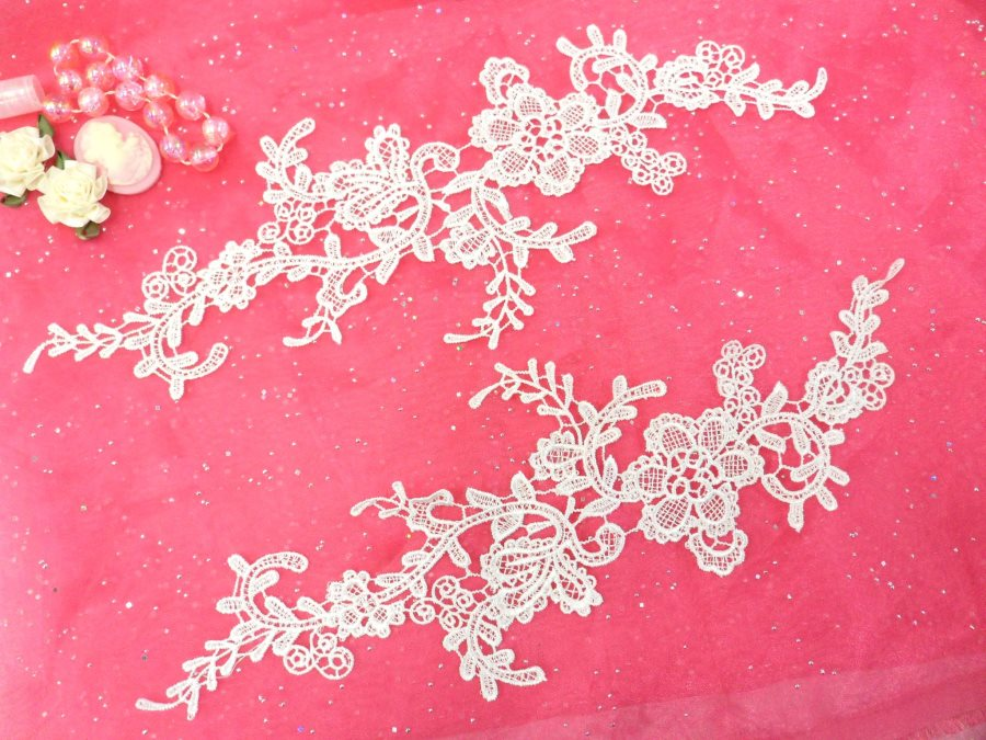 Embroidered Floral Applique Mirror Pair Antique White Clothing Patch Craft Motif 13.5 (BL98X)