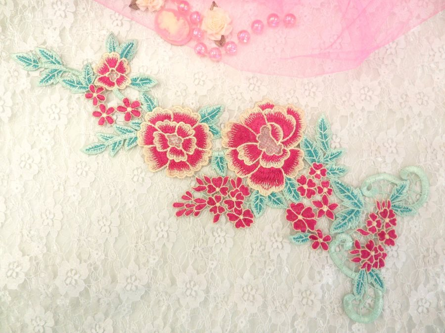 Embroidered Floral Applique Fuschia Teal Clothing Patch Craft Motif 15.5 (BL99)