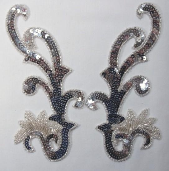 Silver 8\ Mirror Pair Sequin Beaded Applique  0020