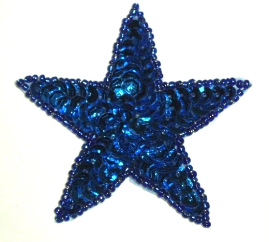 """0112 New Size Blue Star Applique 2.75"""" Sequin Beaded Patch"""