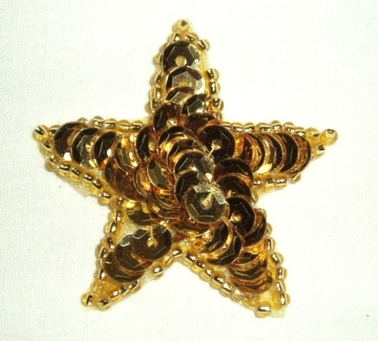 JB73 Gold Star Applique 2.5 Inch Sequin Beaded Patch