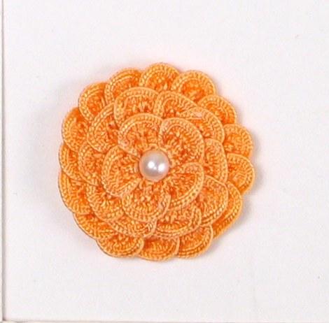 E5560 Peach Pearl Crochet Ribbon Floral Applique 1.5\