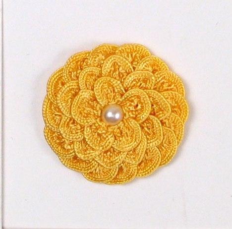 E5560 Yellow Sunflower Pearl Crochet Ribbon Floral Applique 1.5
