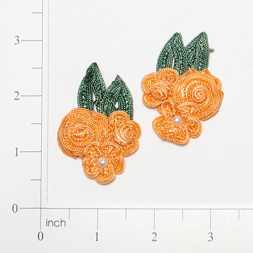 E3604  Peach Crochet Ribbon Floral Applique Pair 2.25