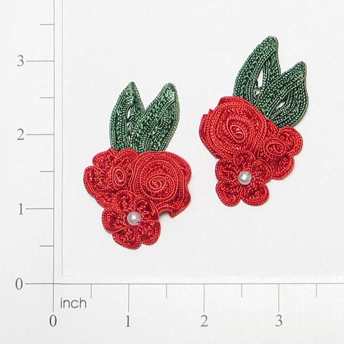 E3604  Red Crochet Ribbon Floral Applique Pair 2.25