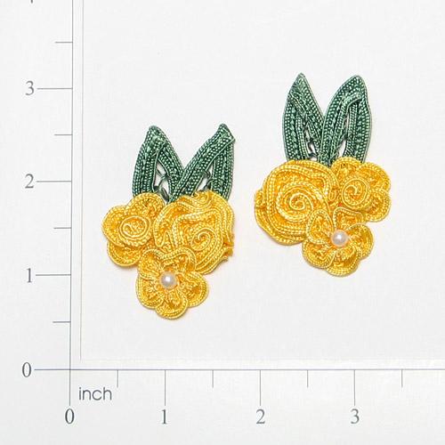 E3604  Yellow Crochet Ribbon Floral Applique Pair 2.25