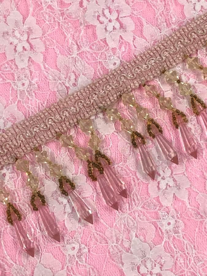C036 Pink Ivory Beaded Fringe Trim 2