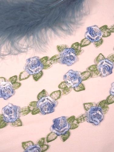 C107 Blue Rose Venice Trim 1 1/8