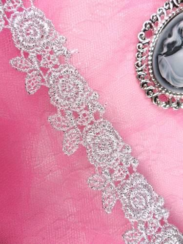 C112 Elegant Silver Metallic Rose Victorian Venice Lace Trim  1\