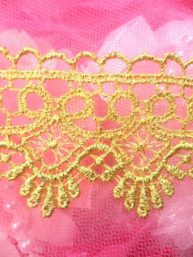 REMNANT RMC127 Gold Metallic Shimmering  Victorian Venice Lace Trim  1.75