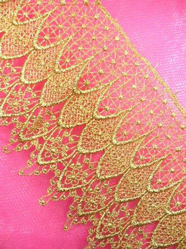 C13 Elegant Metallic Gold Victorian Venice Lace Trim 5\