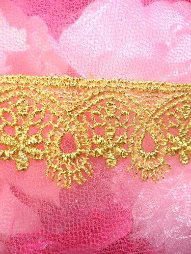 C158 Elegant Metallic Gold Victorian Venice Lace Trim  1.25\