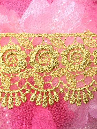 C164  Elegant Gold Metallic Rose Victorian Venice Lace Trim  2.25