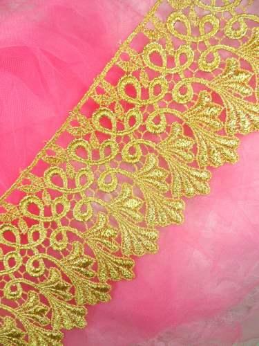 C184 Metallic Gold Venice Lace Sewing Trim 4\