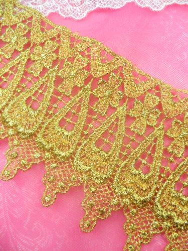 C188 Elegant Gold Metallic Cross Victorian Venice Lace Trim  4\