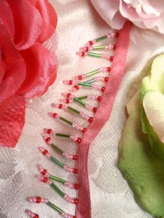C26205 Pink Red Green Beaded Fringe Sewing Trim
