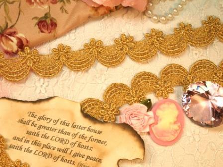 C45  Gold Metallic Venise Lace Victorian Sewing Trim 1-1/8