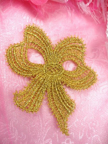 C615896 Gold Venise Lace Victorian Bow  Applique 5.5\