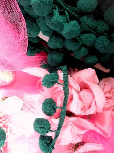 C850470  Emerald Green Pom Pom Sewing Fringe Trim 1.5\