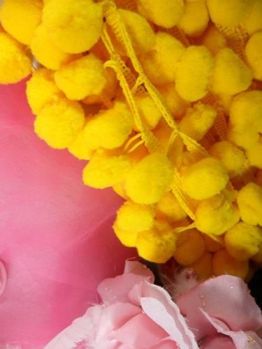 C850470  Yellow Pom Pom Sewing Fringe Trim 1.5\