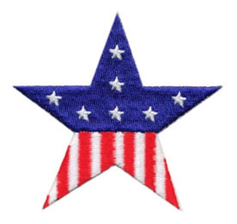 Star Applique Embroidered Patriotic Flag Iron On 3.25 (C999901)