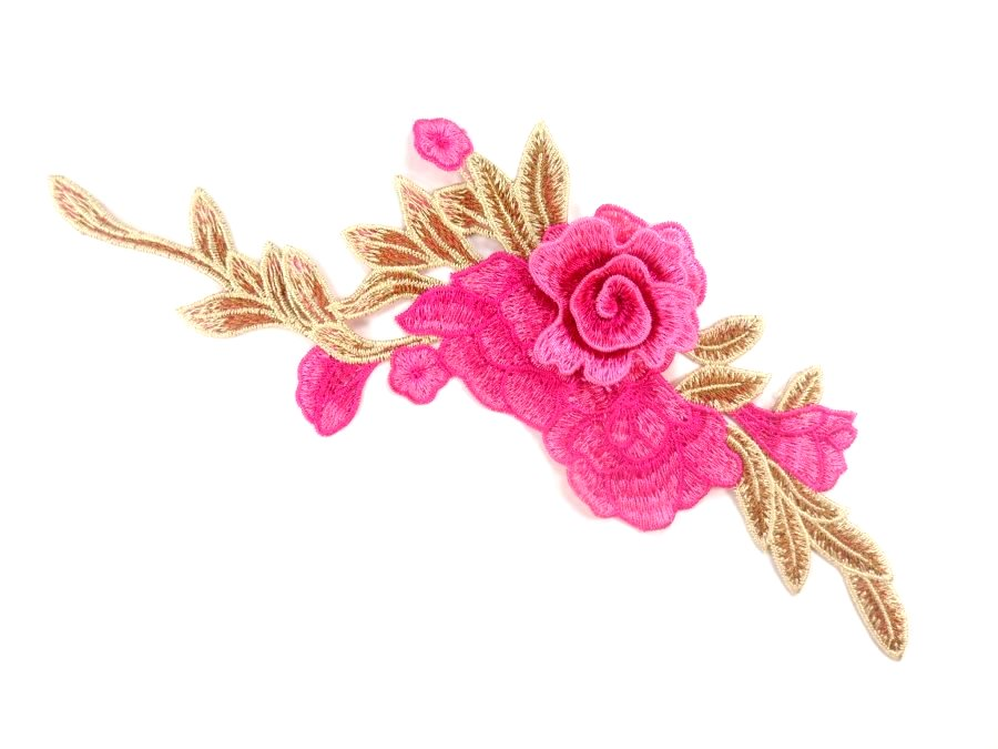3D Applique Embroidered Hot Pink Floral Craft Patch Clothing Motif 13.5  CQ2