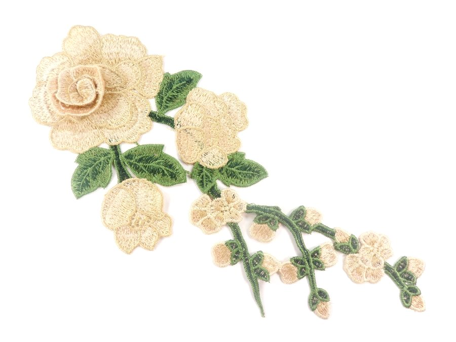 3D Applique Embroidered Champagne Rose Floral Craft Patch Clothing Motif 12  CQ3