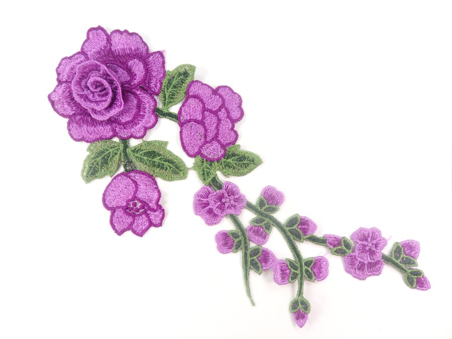 3D Applique Embroidered Purple Rose Floral Craft Patch Clothing Motif 12  CQ3